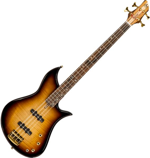 Solid body electric bass Aquilina Sirius 34 #052048 - Sunburst satin