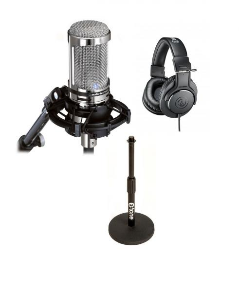 Broadcast & interview microphone Audio technica Pack Podcast(AT2020 UsbV, + Ath-m20x + pied de micro table X-tone)