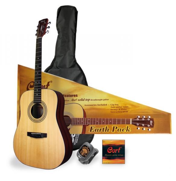 Acoustic guitar set Cort Earth Pack - Natural open pore