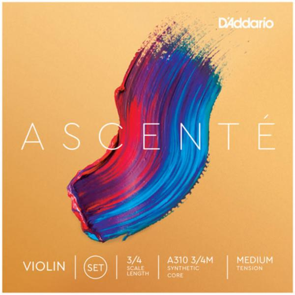 Violon string D'addario Ascenté Violin A310, 3/4 Scale, Medium Tension