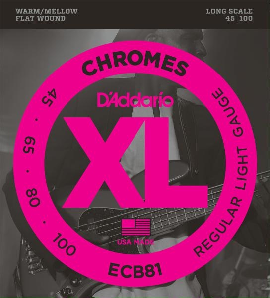 Electric bass strings D'addario ECB81 Chromes Flatwound Bass, Long Scale, 45-100