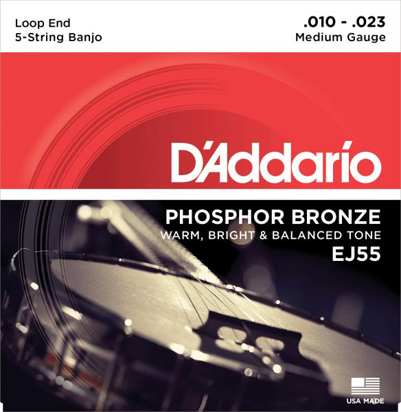 Banjo strings D'addario EJ55 5-String Banjo Phosphor Bronze 10-23 - Set of strings