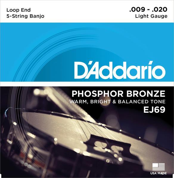 Banjo strings D'addario EJ69 5-String Banjo Phosphor Bronze 9-20 - Set of strings