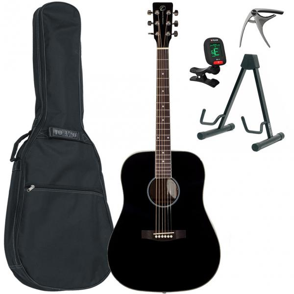 Acoustic guitar set Eastone DR100-BLK +X-Tone Bag Pack - Black