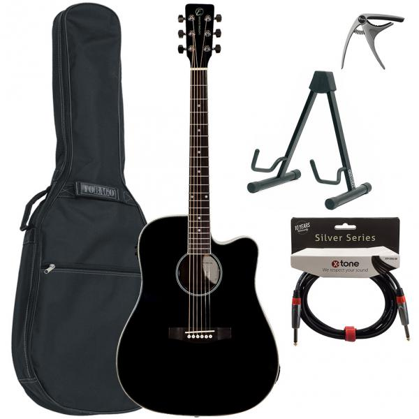 Acoustic guitar set Eastone DR100CE-BLK +X-Tone Bag Pack - Black