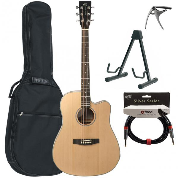 Acoustic guitar set Eastone DR100CE-NAT +X-Tone Bag Pack - Natural satin