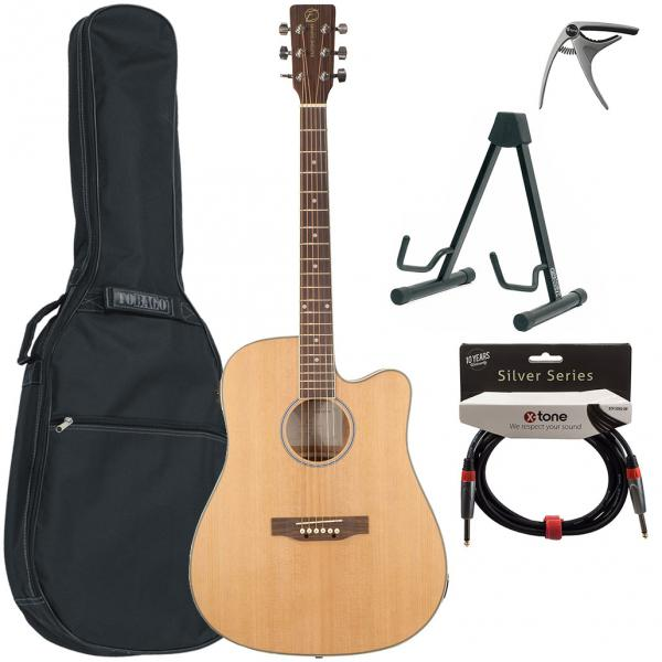 Acoustic guitar set Eastone DR160CE-NAT + X-Tone Bag Pack - Natural