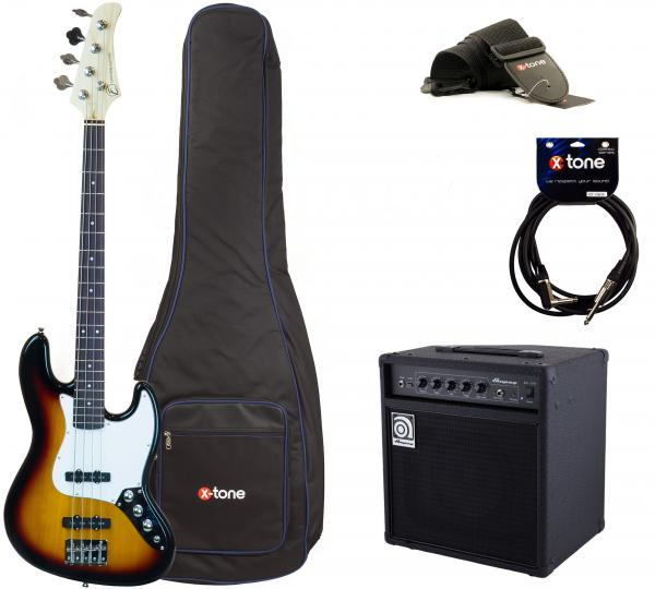 Electric bass set Eastone JAB +Ampeg BA108 +Accessoires - 3 tone sunburst