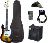 Electric bass set Eastone JAB +Eden EC8 +Accessories - 3 tone sunburst