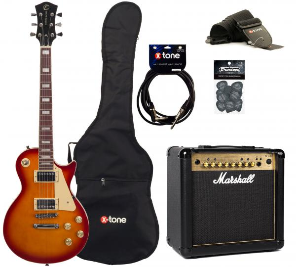Electric guitar set Eastone LP100 +Marshall MG15FX Gold +Accessoires - cherry sunburst