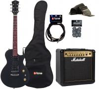 Electric guitar set Eastone LPL70 +Marshall MG15GFX Gold +Accessoires - Black satin