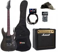 Electric guitar set Eastone METDC +Marshall MG15FX Gold +Accessories - Black satin