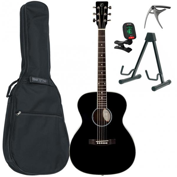 Acoustic guitar set Eastone OM100-BLK +X-Tone Bag Pack - Black