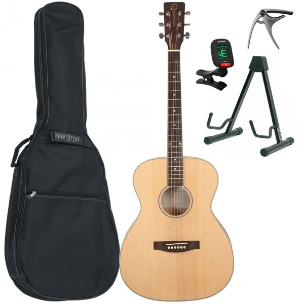Acoustic guitar set Eastone OM100-NAT +X-Tone Bag Pack - Natural satin