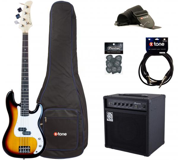 Electric bass set Eastone PRB +Ampeg Ba108 +Accessoires - 3 tone burst