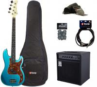 Electric bass set Eastone PRB +Ampeg Ba108 +Accessoires - Metallic light blue