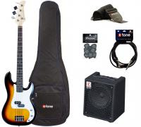 Electric bass set Eastone PRB +Eden EC8 +Accessories - 3 tone burst