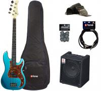 Electric bass set Eastone PRB +Eden EC8 +Accessories - Metallic light blue