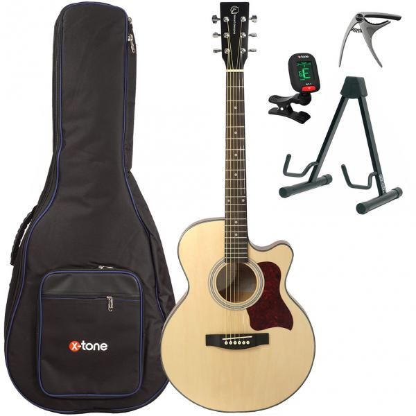 Acoustic guitar set Eastone SB20C-NAT +X-Tone 2002 Bag Pack - Natural matte