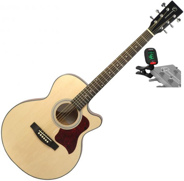 Acoustic guitar set Eastone SB20C-NAT+ X-TONE Tuner Clip-On - Natural