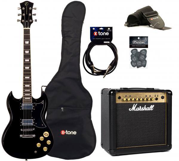 Electric guitar set Eastone SDC70 +Marshall MG15FX Gold +Accessoires - black