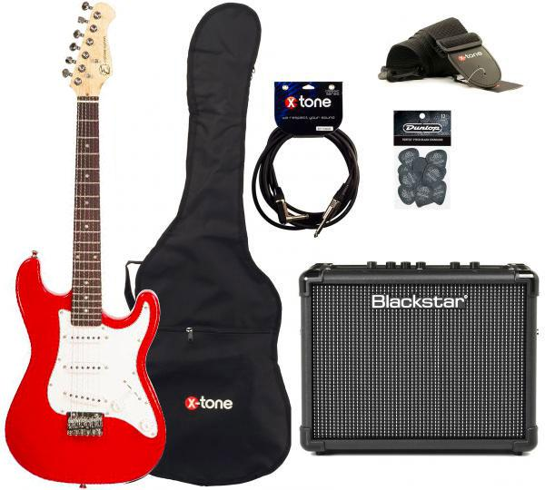 Electric guitar set Eastone STR MINI +BLACKSTAR ID:CORE STEREO 10 +CABLE +HOUSSE+ COURROIE+ MEDIATORS - Red