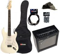 Electric guitar set Eastone STR70 +Fender Mustang I V2 +Accessories - White