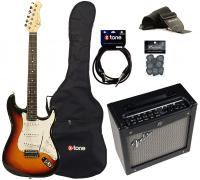 Electric guitar set Eastone STR70 +Fender Mustang I V2 +Accessories - 3-color sunburst