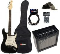 Electric guitar set Eastone STR70 +Fender Mustang I V2 +Accessories - Black