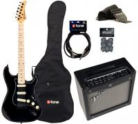 Electric guitar set Eastone STR70 GIL +Fender Mustang I V2 +Accessories - Black