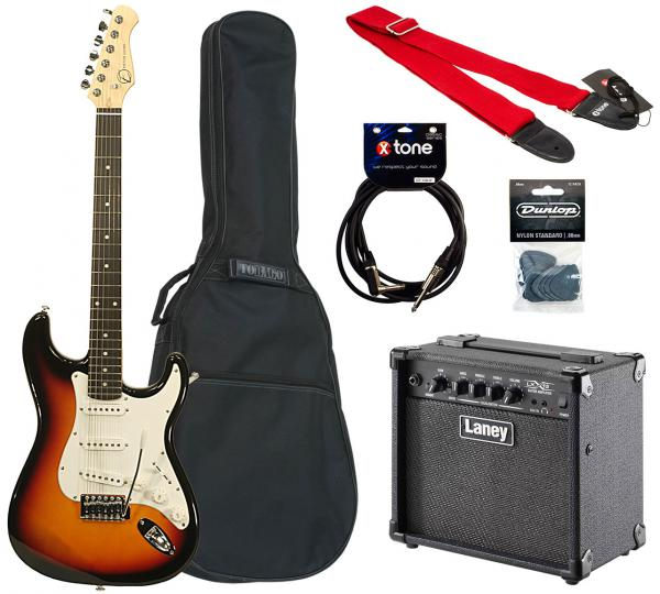 Electric guitar set Eastone STR70 +Laney LX15 +Accessories - 3 tone sunburst