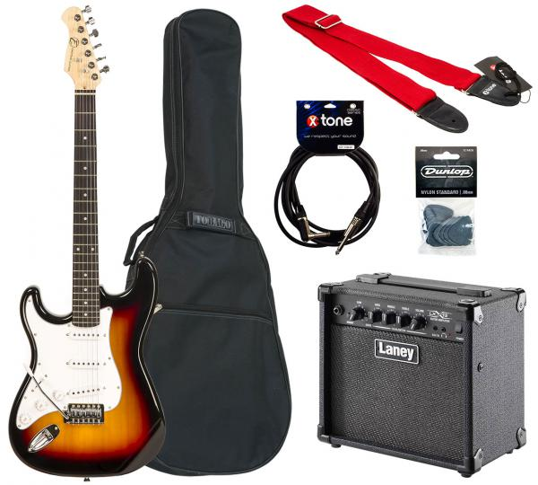 Electric guitar set Eastone STR70T Left Hand +Laney LX15 +Accessories - 3 tone sunburst