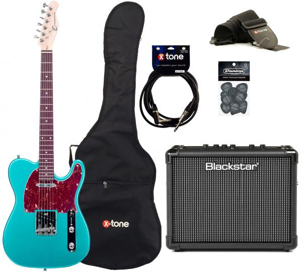Electric guitar set Eastone TL70 +Blackstar Id Core Stereo 10 +Accessories - Metallic light blue