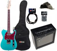 Electric guitar set Eastone TL70 +Fender Mustang I V2 +Accessories - Metallic light blue