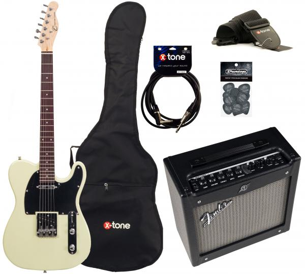Electric guitar set Eastone TL70 +Fender Mustang I V2 +Accessories - ivory