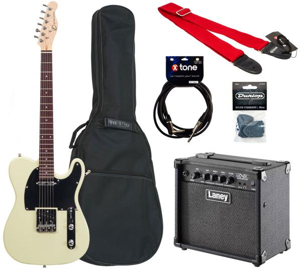 Electric guitar set Eastone TL70 +Laney LX15 +Accessories - Ivory