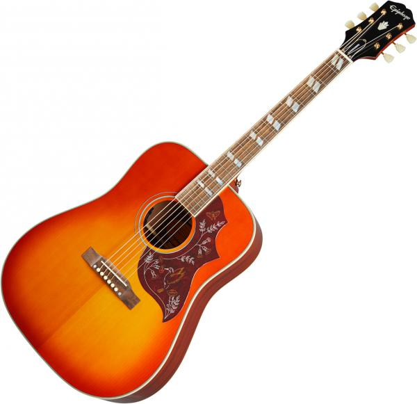 Acoustic guitar & electro Epiphone Inspired by Gibson Hummingbird - Aged cherry sunburst