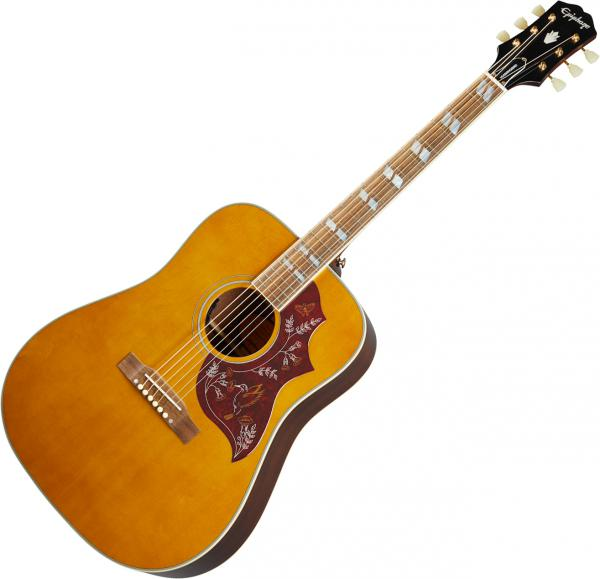 Acoustic guitar & electro Epiphone Inspired by Gibson Hummingbird - Aged antique natural