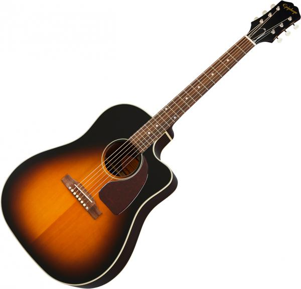 Acoustic guitar & electro Epiphone Inspired by Gibson J-45 EC - Aged vintage sunburst