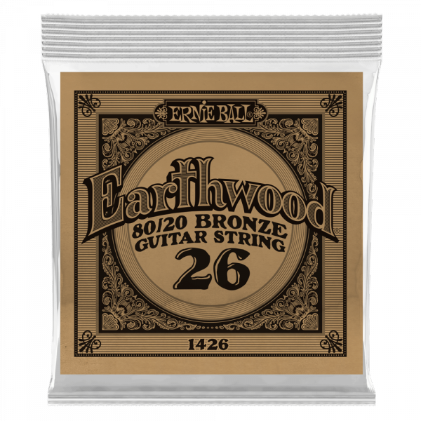 Acoustic guitar strings Ernie ball Folk (1) Earthwood 80/20 Bronze 026 - String by unit