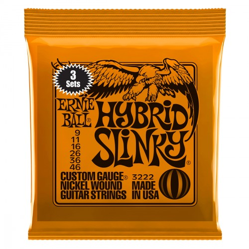 Electric guitar strings Ernie ball Electric (3x SET) 3222 Hybrid Slinky 9-46 - Set of strings