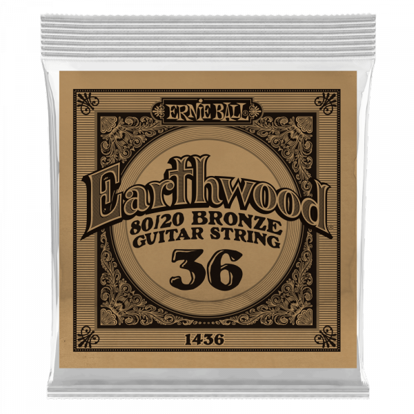 Acoustic guitar strings Ernie ball Folk (1) Earthwood 80/20 Bronze 036 - String by unit