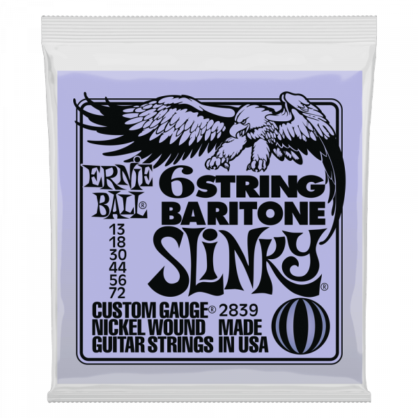 Electric guitar strings Ernie ball Electric 2839 Slinky 6String Barytone 5/8 scale 13-72 - Set of strings