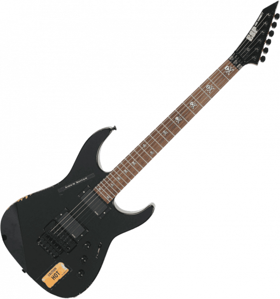 Solid body electric guitar Esp Custom Shop Kirk Hammett KH-2 Vintage (Japan)) - Distressed black
