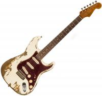 Solid body electric guitar Fender Custom Shop 1962 Stratocaster Ltd CZ541607 - Super heavy relic aged olympic white