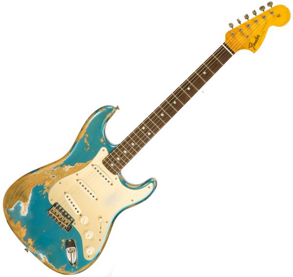 Solid body electric guitar Fender Custom Shop Big Head Stratocaster Ltd CZ541658 - super heavy relic ocean turquoise