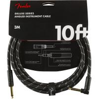 Cable Fender Deluxe Instrument Cable, Straight/Angle, 10ft - Black Tweed