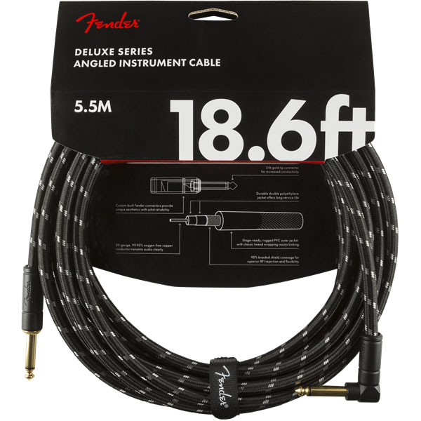 Cable Fender Deluxe Instrument Cable, Straight/Angle, 18.6ft - Black Tweed