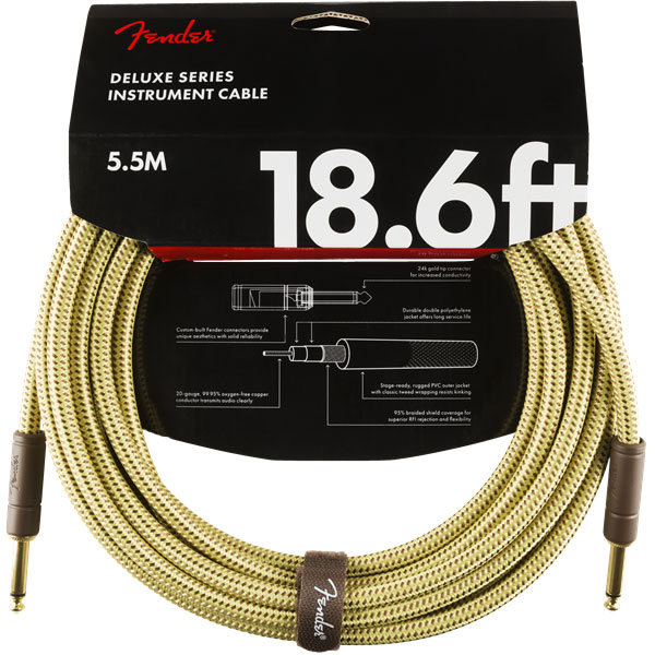 Cable Fender Deluxe Instrument Cable, Straight/Straight, 18.6ft - Tweed