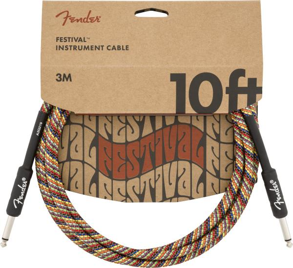 Cable Fender Festival Pure Hemp Instrument Cable, Straight/Straight, 10ft - Rainbow